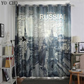 YO CHO modern retro Tower blackout curtains heat preservation blackout curtains for sitting room popular 3d window decoration