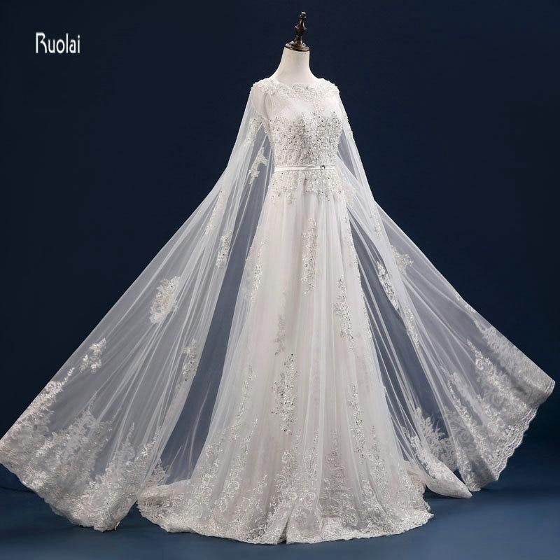 Vestido De Noiva Personalizat Mărgești Aplicații cu maneci lungi - Rochii de mireasa - Fotografie 2