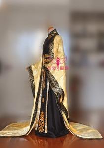 Image 3 - Muhteşem İmparator siyah altın rengi erkek kostüm fotoğrafçılık için COS hanfu geniş kollu ejderha desen kostüm kuyruk