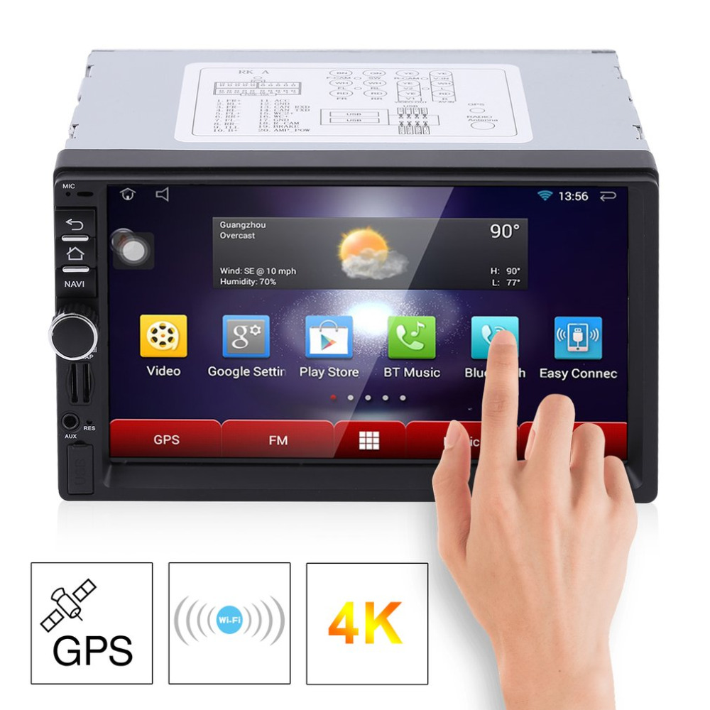 RK-7721A 7 Inch HD 1024*600 Car DVD Player with GPS Aerial Capacitive Screen 7 Colorful Light Function European Map hot selling