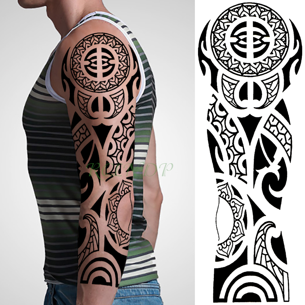 Waterproof Temporary Tattoo Sticker Tribal Totem Old School Full Arm Fake Tatto Flash Tatoo Sleeve Large Size For Men Women