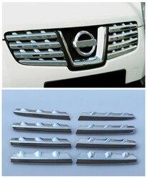 Dla Nissan Qashqai Dualis 2007 2008 2009 Chrome przednia głowica centrum Grill kratki pokrywa wykończenia wyścigi grille wokół wykończenia dekoracji