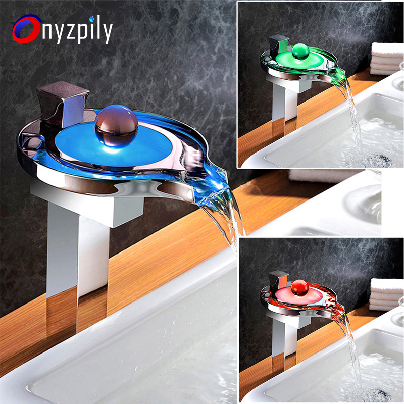 LED Waterfall Spout Bathroom Sink Faucet Mixer Tap With Cover Plate Deck Mounted Hot&Cold Water Bathroom Basin Faucet duzi waterfall water mixer nickel brushed bathroom sink faucet tap cold hot with sink faucet hole cover deck plate escutcheon
