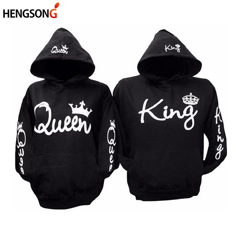 Hoodies Sweaters Trainning Couple Gym Fitness QUEEN KING Tracksuits Women Lover Black