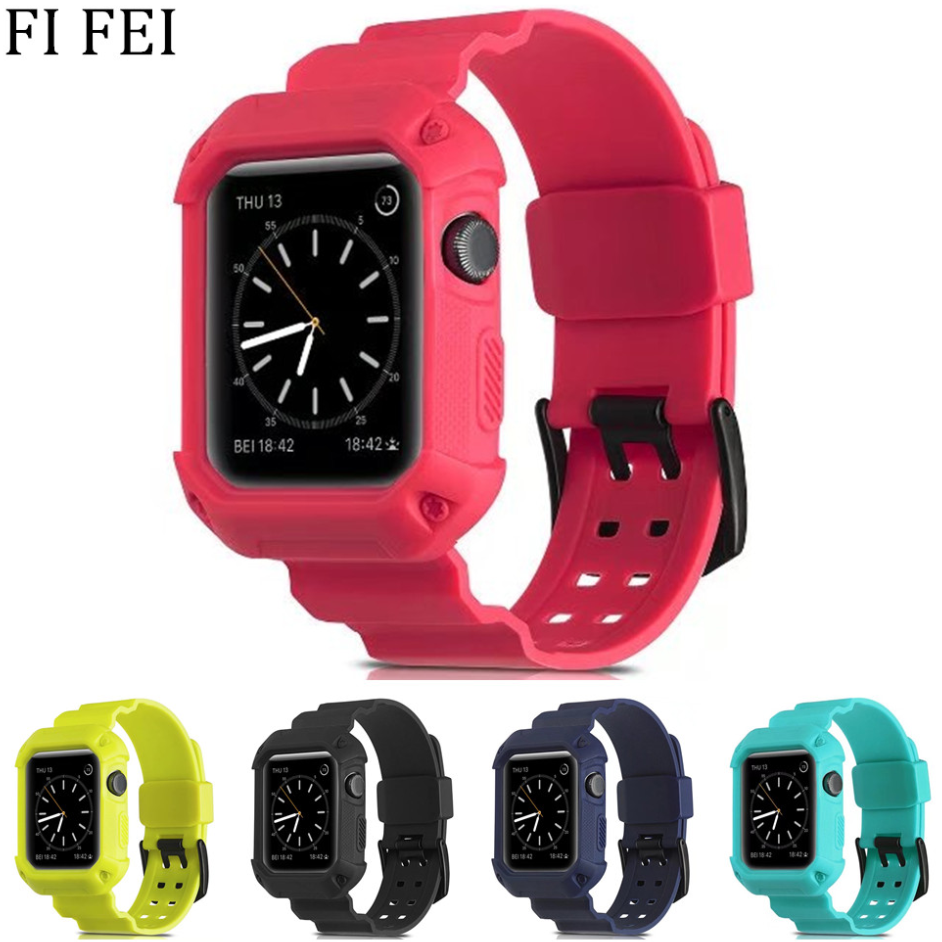 FI FEI Sport band for apple watch 3 42mm 38mm series 3/2/1 wrist band bracelet Rubber watchband With Full Protective Case Frame pj 002 protective silicone case wrist band for gopro hero 3 3 wi fi remote controller red