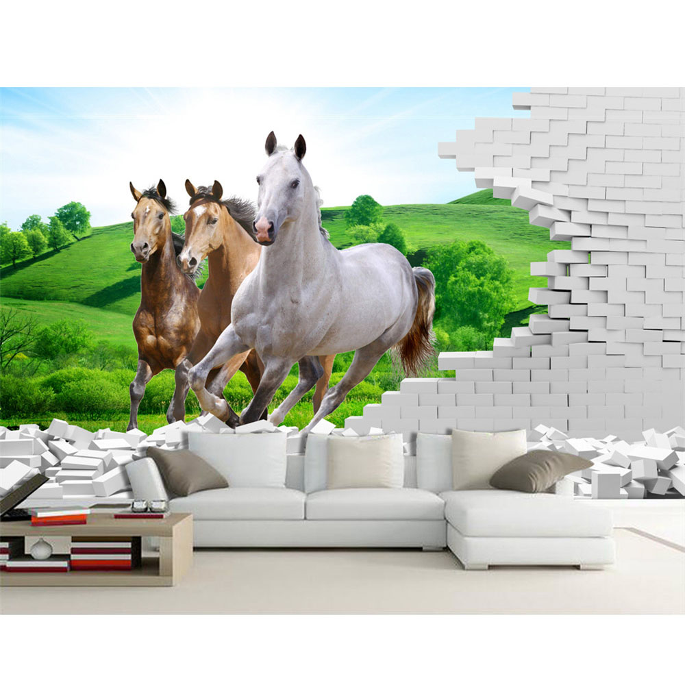 Wallpaper Mural Decor Photo Backdrop Wallpaper Wall White Brick Grass Horse Animal Mural Painting For Living Room 3D Wallpaper in Wallpapers from Home Improvement