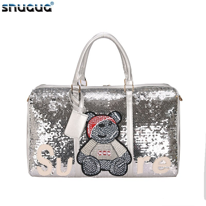 Glitter Pink Woman Sports Bags For Fitness Outdoor Luggage Travel Bag Organizer Sequin Gym Bags Women Training Yoga Duffle Bag