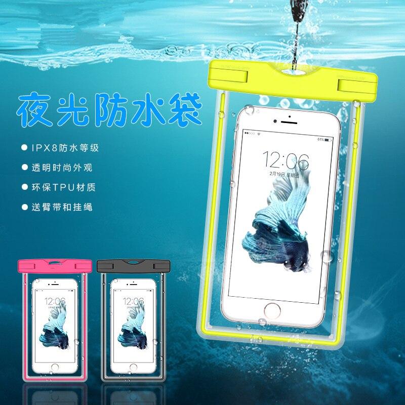 6.0  PVC Swim Photography Waterproof Pouch Bag Luminous Cover Case on For Xiaomi 6 /6 Plus/2A/3/4/4C/4S/5/5S/5C/5S Plus/note 2