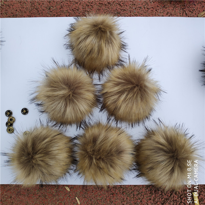 Wholesale 5pcs/lot Big 15cm nature Fur Pompoms Furry Artificial Polyester Hairy Ball Poms For Winter Knitted Hats Caps   Beanies