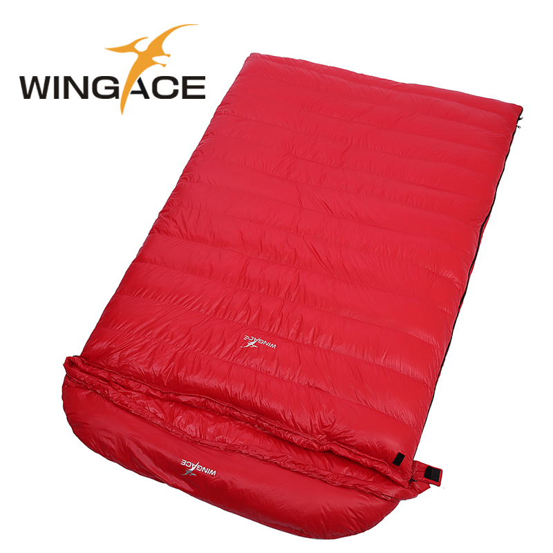 WINGACE Fill 4000G Goose Down Sleeping Bag Winter Camping Outdoor Envelope Adult Double Sleeping Bags Hiking Camping Equipment outdoor camping laybag sleeping lazy bag adult portable hiking envelope keep warm sleeping bags travel hiking equipment