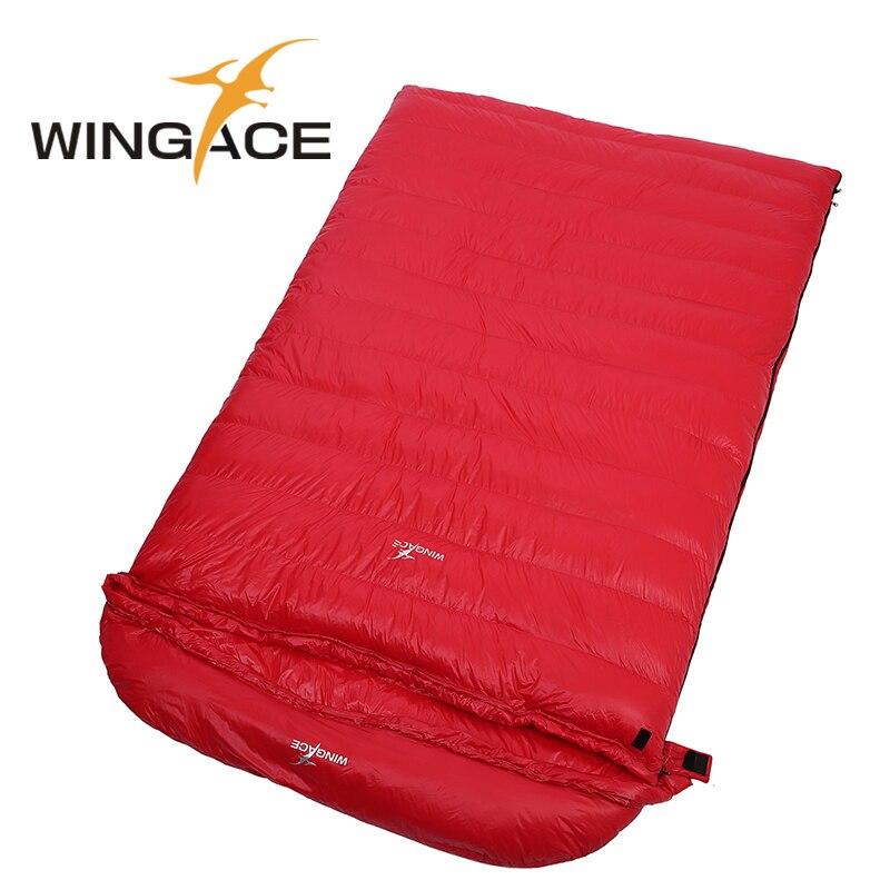 WINGACE Remplir 4000g Sac de Couchage En Duvet D'oie Hiver Camping En Plein Air Enveloppe Adulte De Couchage Double Sacs Randonnée Matériel de Camping