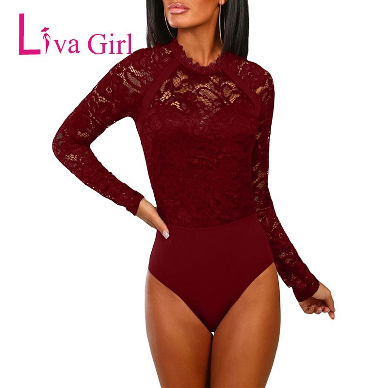 Liva Girl Sexy Floral Lace Bodycon Bodysuit For Women 2019 New Cutout Back Long Sleeve Black Bodysuits Rompers Womens   Jumpsuit