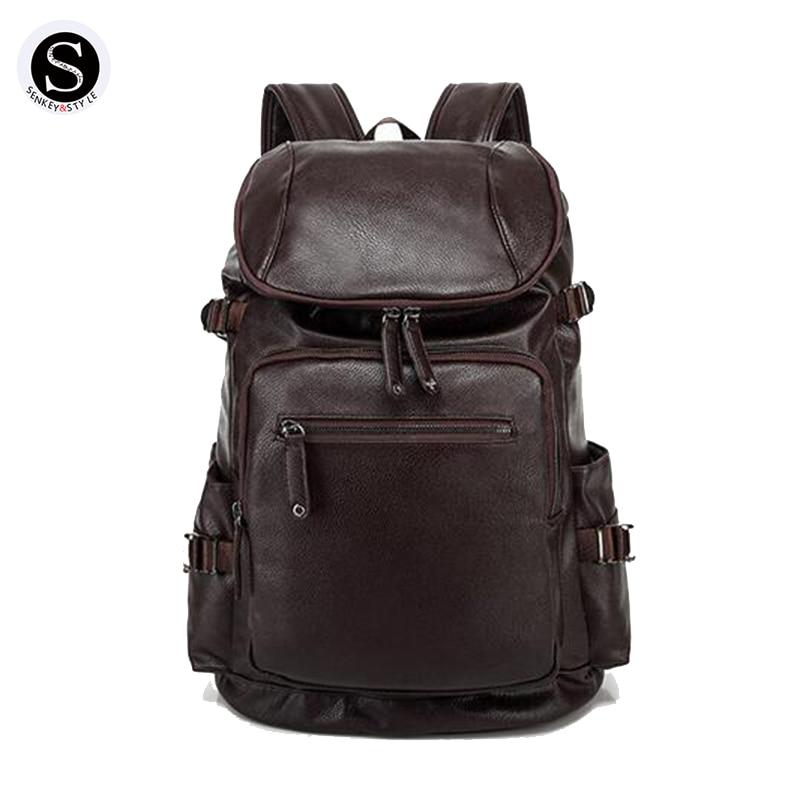 Senkey Style Backpack Men 2017 Waterproof 15 Inch Laptop Backpack Men Designer Leather School Bags For