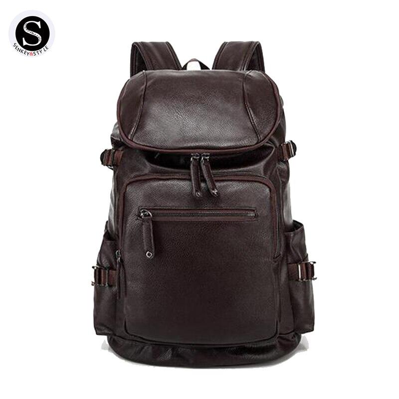 Senkey Style Backpack Men 2017 Waterproof 15 Inch Laptop Backpack Men Designer Leather School Bags For Teenagers Famous Brands senkey style designer backpack men high quality 2017 waterproof leather retro laptop backpack women school bags for teenagers