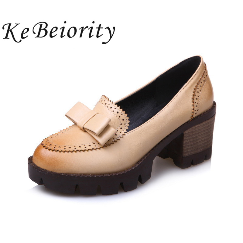 ФОТО KEBEIORITY 2017 thick heel spring shoes womens oxfords round toe platform pumps shoes leather women heels shoes black pumps