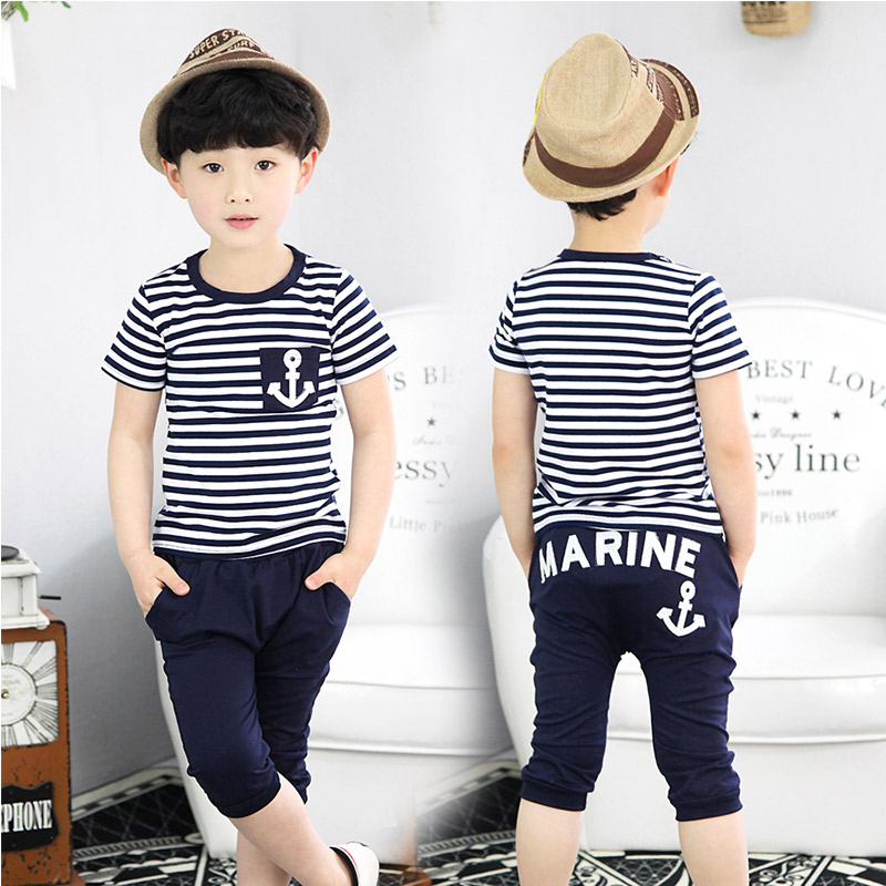 2016 Summer Navy Style Male Children'S Clothing Child Boy Short-Sleeve T-Shirt Capris Set family fashion summer tops 2015 clothers short sleeve t shirt stripe navy style shirt clothes for mother dad and children