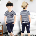 2016 Summer Navy Style Male Children'S Clothing Child Boy Short-Sleeve T-Shirt Capris Set