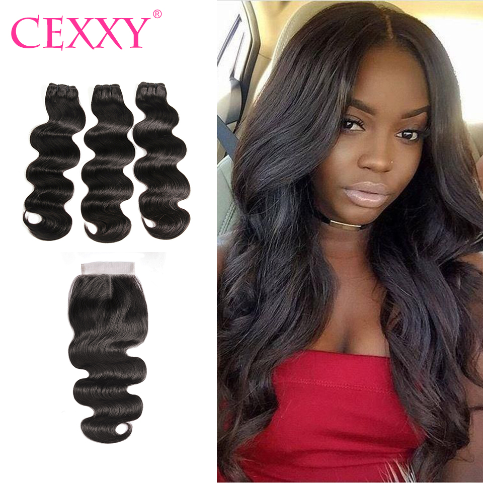 CEXXY Hair Body Wave Raw Indian Virgin Hair Bundles With Closure Hair Weave Bundles Middle Part