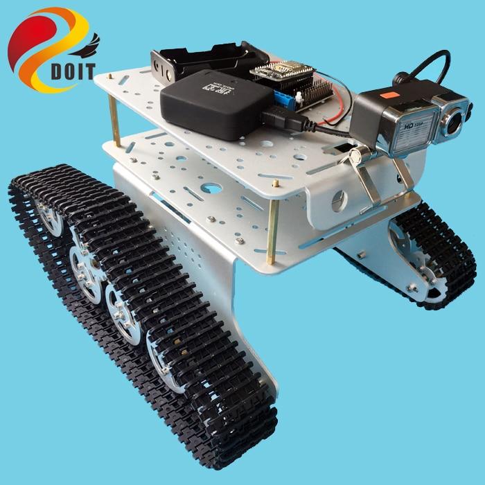 DOIT TD300 Double Decker Robot WiFi châssis de réservoir avec caméra vidéo + carte Nodemcu ESP8266 + Kit routeur Openwrt par App téléphone jouet RC