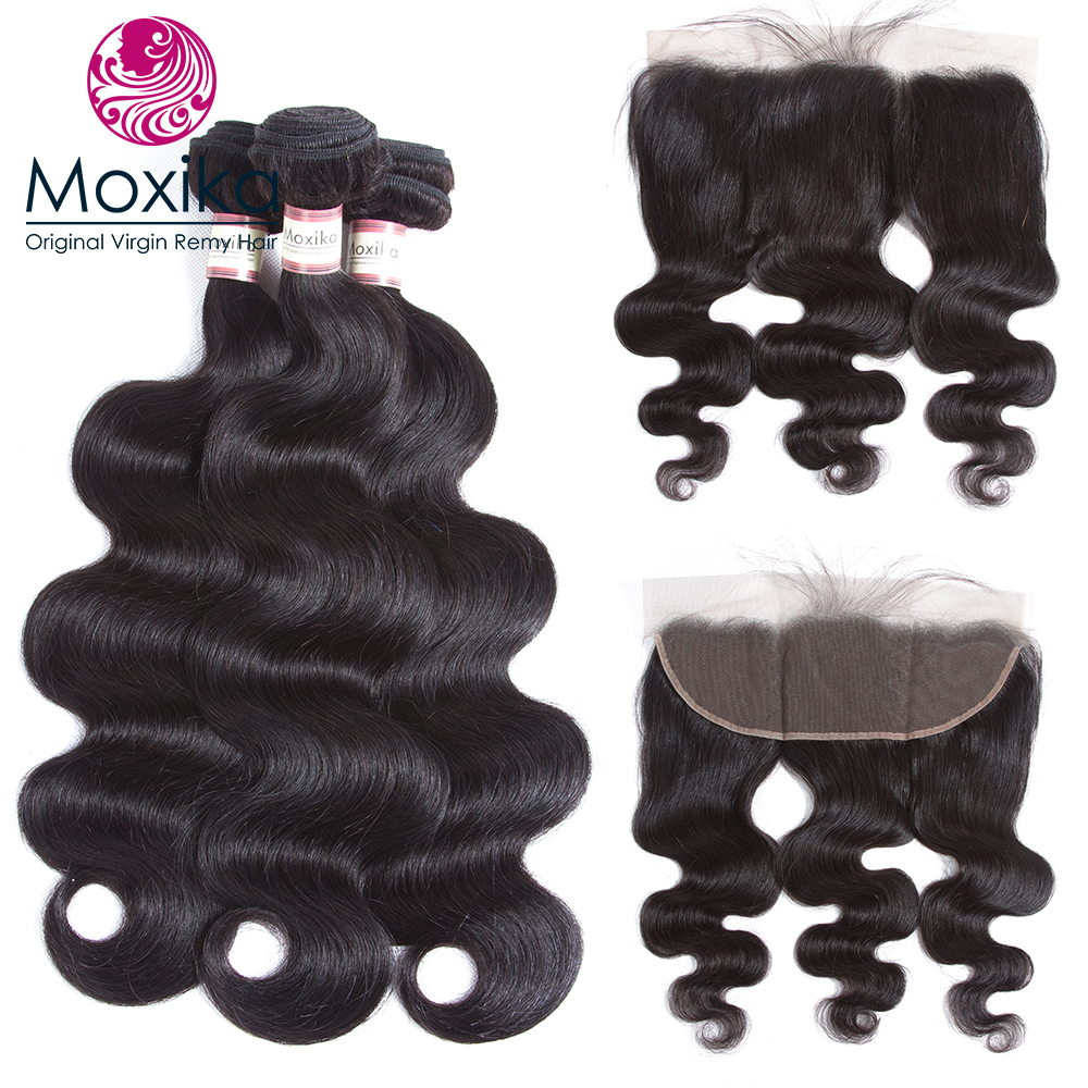 Moxika PrePlucked Lace Frontal Closure With 3Bundles Ear To Ear Brazilian Body Wave Human Hair with closure 4pcs/lot Remy