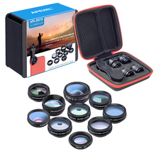 Discount! APEXEL 10in1 Phone camera Lens Kit Fisheye Wide Angle macro 2X telescope Lens for iphone xiaomi samsung galaxy android phones