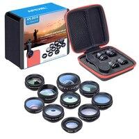 APEXEL 10in1 Phone Camera Lens Kit Fisheye Wide Angle Macro 2X Telescope Lens For Iphone Xiaomi