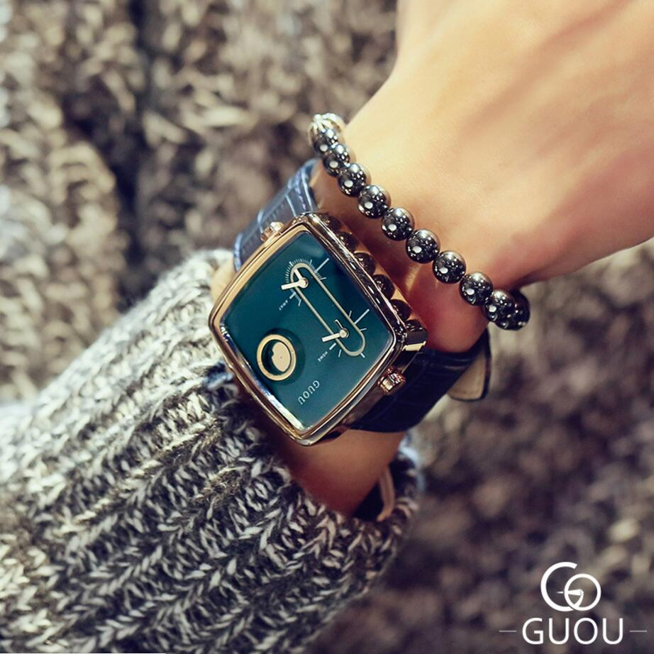 GUOU Luxury Wrist Watch Men Watch Fashion Square Watches Top Brand Men's Watch Clock erkek kol saati relogio masculino saat sport watch men erkek kol saati mens watches top brand luxury clock men watch military army doobo quartz watch relogio masculino