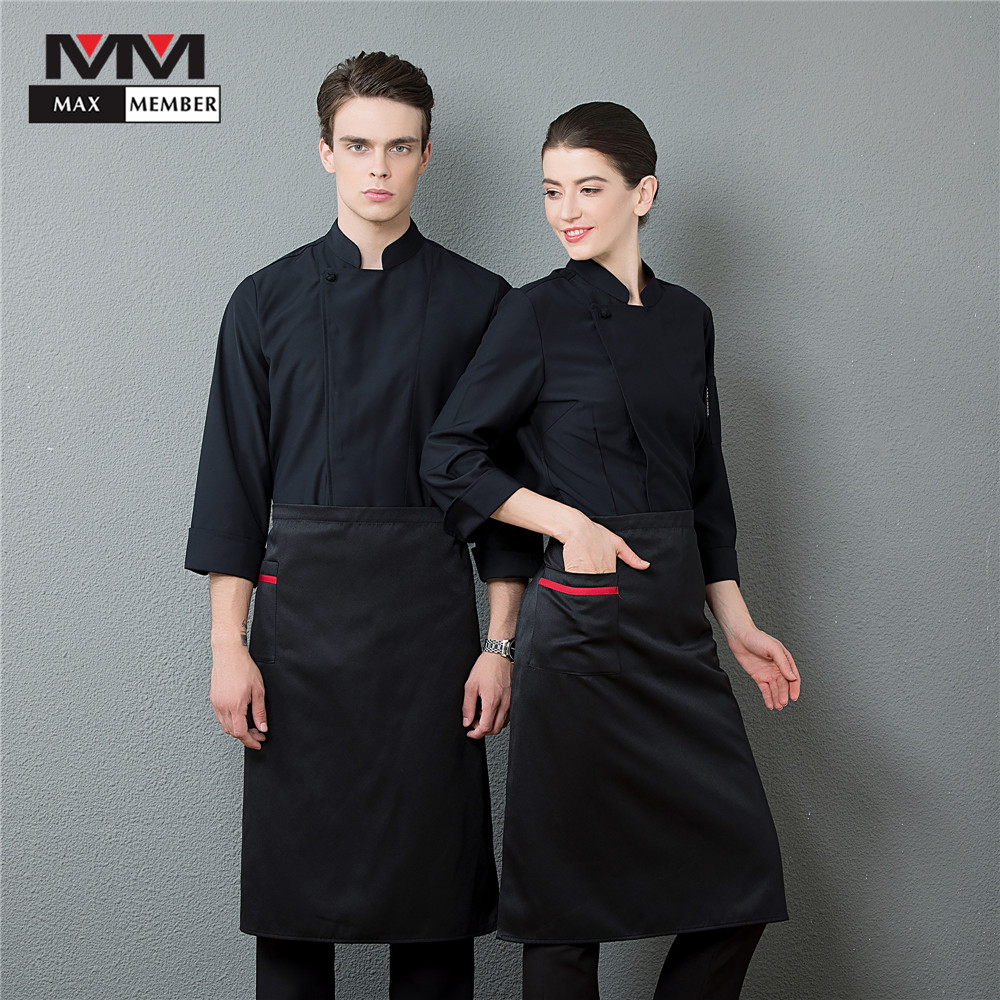 Men's Professional Long Sleeve Kitchen Cook Chef Work Uniforms Catering Baker Waiter Barber Overalls Jacket Black White Clothing