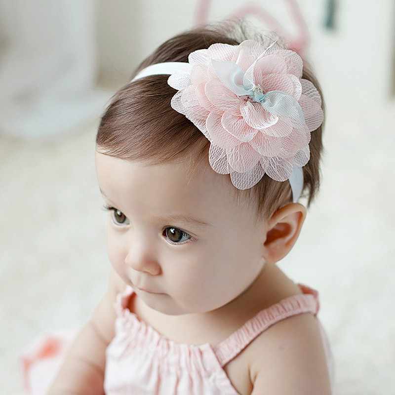Cute Baby Girl Headband Sweet Big Flower Hair Band Children elastic hair band headband Lace Hair Accessories 12pc set elastic hair rubber band children hair unicorn headband kids hair accessories gril hair band set cute unicorn cartoon