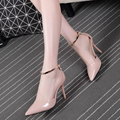 Small size for women's shoes 31 32 33 single shoes point 7 cm 43 big word buckle 40 and 41 yards nude heels heel
