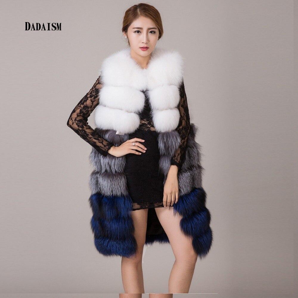 1f615b0194fd4 2017 novos modelos femininos casaco de pele colete quente longa seção gola  de pele de raposa Senhora Do Escritório casaco de pele frete grátis