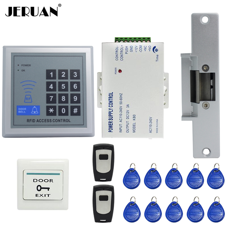 FREE SHIPPING RFID Door Access Control System Kit Set +Strike Door Lock +Rfid Keypad + Power +Exit Button + 2 Remote controller rfid door access control system kit set with electric lock power supply doorbell door exit button 10 keys id card reader keypad