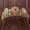 European Baroque Big Gold Pearl Tiara Crystal Wedding Hair Accessories Colorful Rhinestone Queen Pageant Crown Hair Ornaments
