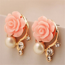Fashion Jewelry 2016 New Earings For Women Korean Style OL Pink Rose Crystal Pearl Double Side Stud Earings