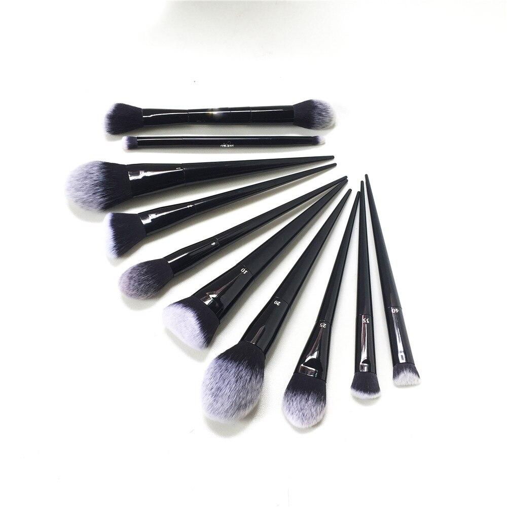 K-SEREIS 10 pcs Maquillage Brosse Ensemble (#10 20 25 35 40 1 2 4 Ombre + Lumière Serrure -il bord Poudre Fondation Contour Concealer Fard À Paupières)