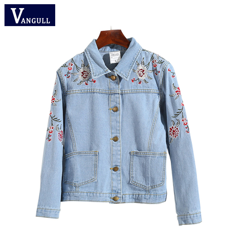 Floral Embroidery Denim Jacket 2018 New Fashion Woms