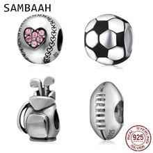 Sambaah Football Baseball Hockey Puck Sports Charms 925 Antique Sterling Silver Tennis Golf Beads fit Pandora Sport Bracelet цена и фото