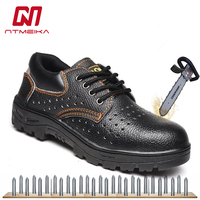 Big Size 35 46 Mens Work Safety Shoes Steel Toe Cap PU Leather Safety Work Boots Shoes Men Lightweight Breathable Casual Shoes