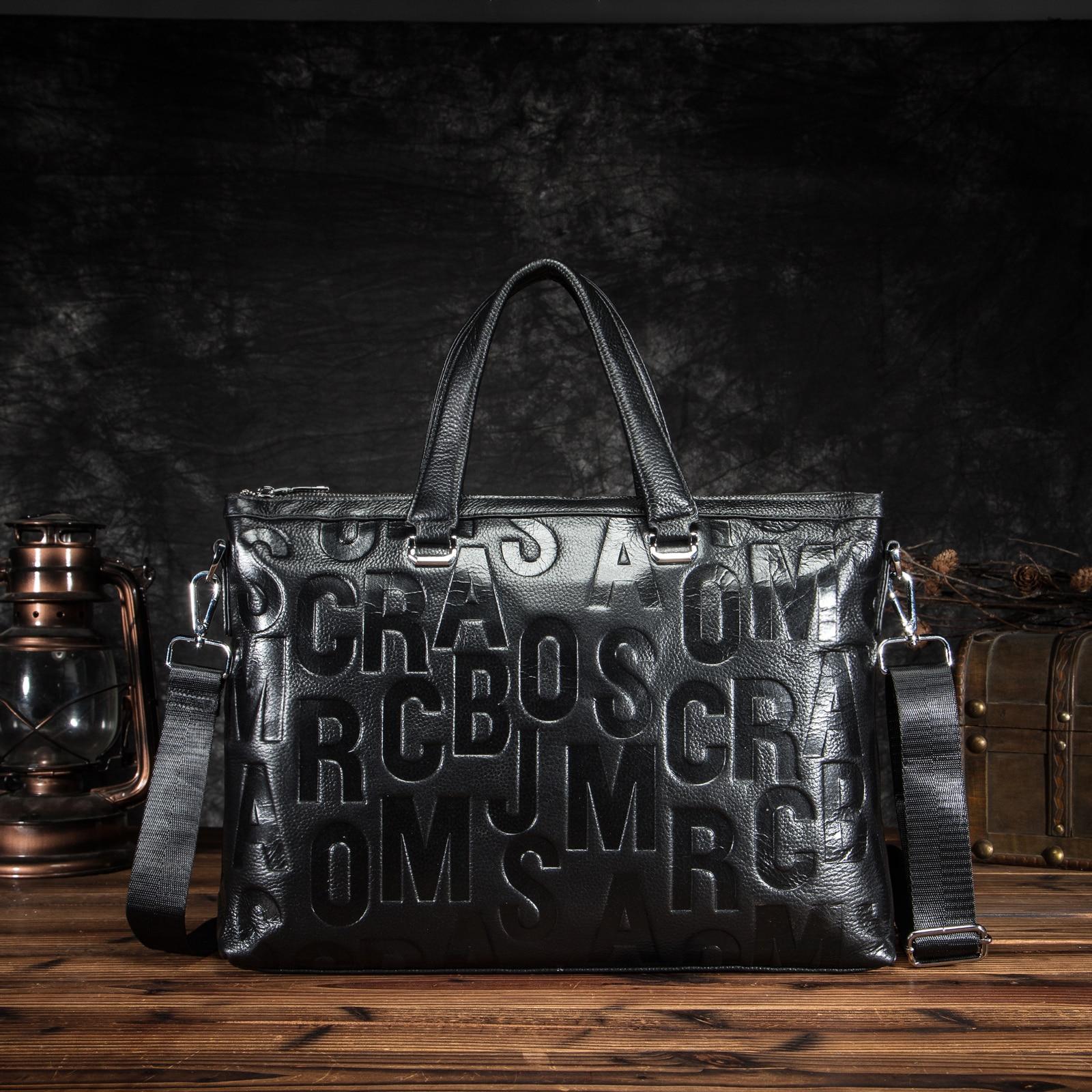 Men Quality Leather Fashion Black Business Briefcase 15