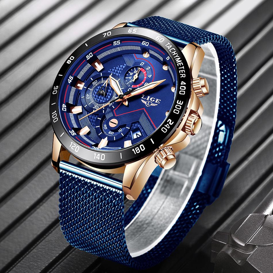 LIGE azul Casual malla Correa moda cuarzo oro reloj para hombre relojes marca superior reloj impermeable de lujo 11