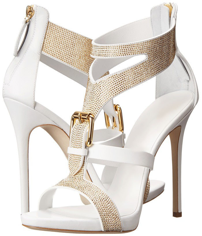 ФОТО Elegant White Stiletto Sandals Casual Concise Buckles Golden Studed Design Modern Style Ankle Strap Shoes Free Ship