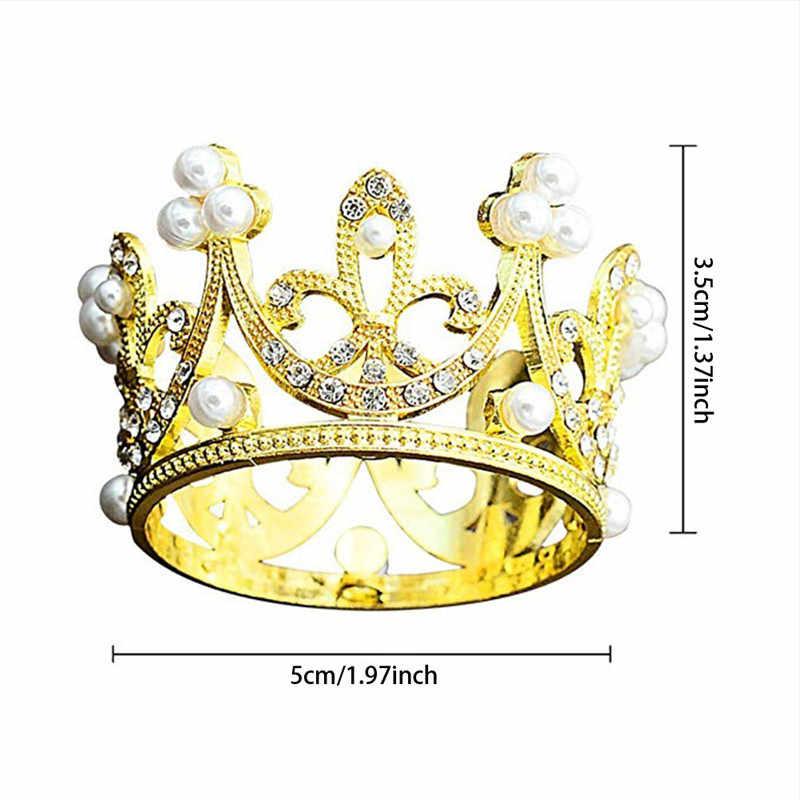 4 YANG Mini corona pastel Topper cristal perla Tiara niños adornos para el pelo para la boda cumpleaños pastel herramientas de decoración