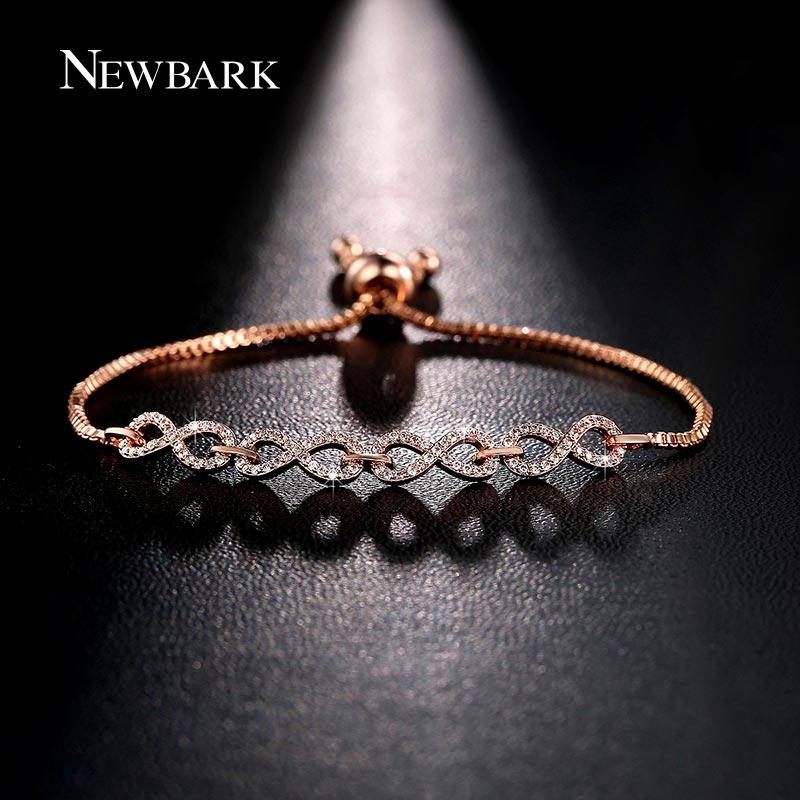 Newbark Новая мода розовое золото Цвет бесконечное браслет нежный простой персонализированные Бесконечность 8 символ цепи Браслеты Обувь для девочек Подарки