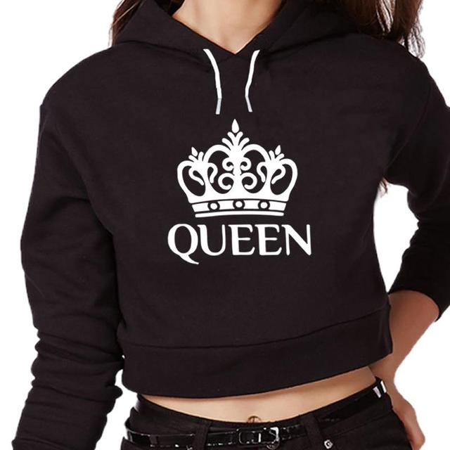 Queen Letter Print Hoodies Crop Top Women Fashion Tops Harajuku Female Funny Kawaii Hoodie  Plus Size Tank Top  2017 Hot Sale by May Hall