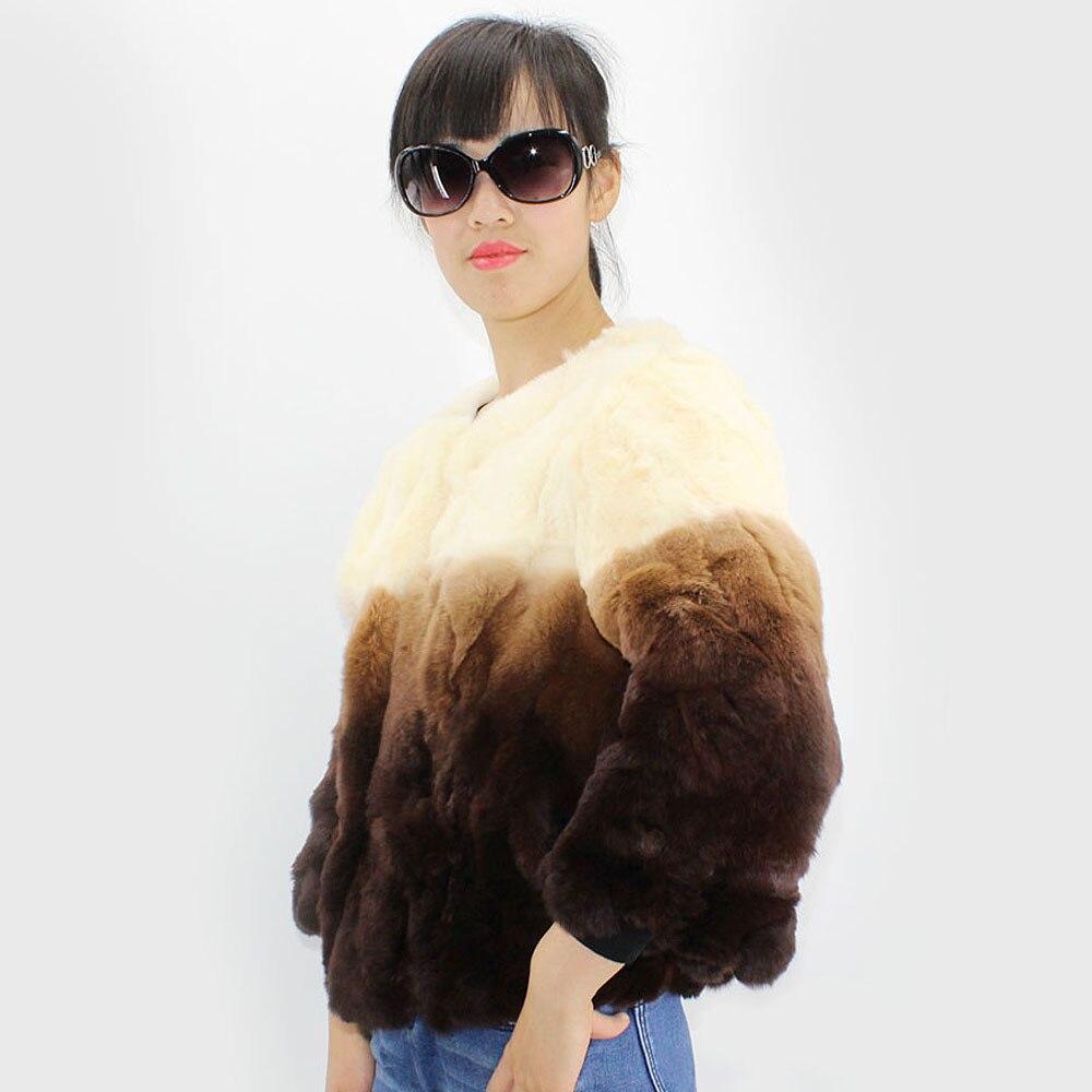 100 Nouveau Rex Couleur Naturel Manteau Véritable Femmes Lapin Mode Mince Veste Style Fourrure De Progressive Color qrr5t