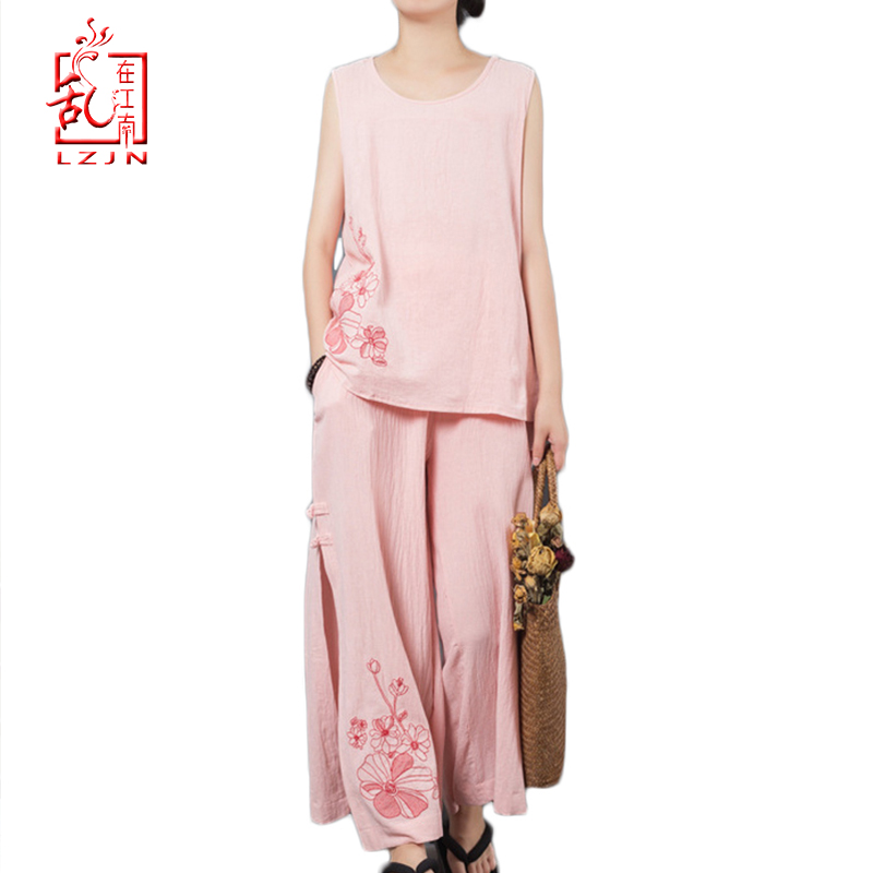 LZJN Summer Women Sets Loose Sleeveless Tops and Pants Two Piece Suit Cotton Linen Embroidery Tank Tops and Wide Leg Pants Sets thumbnail