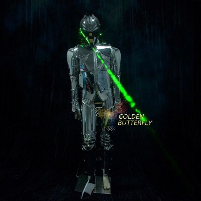 Lame Robot Costume Dragon lentille LED vêtements lumière vêtements danse Alien Costume hommes Halloween Science Fiction film Robot Costumes