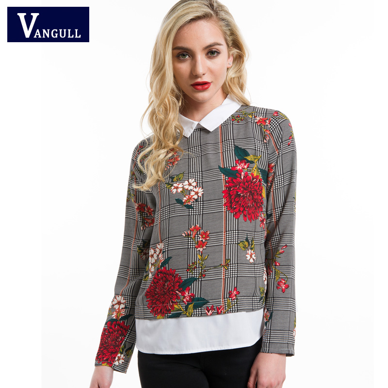 Vangull Mixed Print Blouse Summer Women Tops Spring Curved Hem 2 In 1 Multicolor Contrast Collar Long Sleeve Floral Plaid Blouse