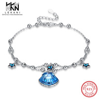 Elegant Star Shell Crystal From Swarovski Bracelet Double Chain 925 Sterling Silver For Women Blue Crystal Engagement Party Gift