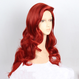 """Image 1 - 28"""" 72cm Long Wavy Copper Red Jessica Rabbit Hair With Big Swap Bangs Heat Resistant Cosplay Costume Wig + Wig Cap"""
